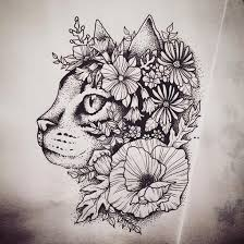 Thai Flower Tattoo Designs Floral Cat Tattoo Design Beautiful Cats Design Color And Tattoo