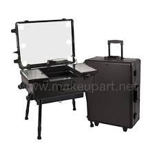 makeup luggage with lights studio makeup case w led lights mirror legs black
