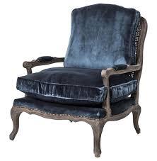 Velvet Accent Chair Boutique Bergere Blue Velvet Accent Chair Zin Home