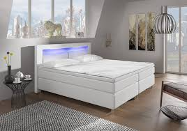 Schlafzimmer Komplett Led Boxspringbett 140x200 Mit Led Beleuchtung Und Chromleiste
