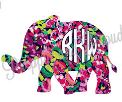 lilly pulitzer monogram elephant decal sticker