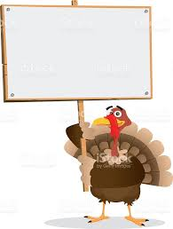 art for thanksgiving turkey holding a blank sign for thanksgiving stock vector art
