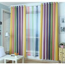 Orange And White Striped Curtains Simplement Blue White Cotton Linen Striped Curtains