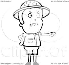 cartoon clipart of a black and white mad safari boy pointing