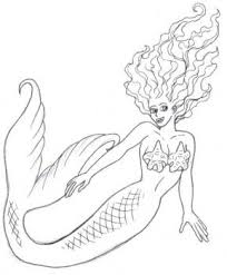 drawn mermaid mythical creature pencil color drawn