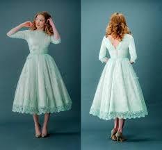 mint green prom dresses lace high neck tea length half long