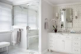 gray double washstand with glass pulls transitional bathroom