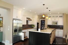 ebony wood grey prestige door lights over kitchen island