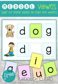 Words Cards Vowel Word Cards And Puzzles Playdough To Plato