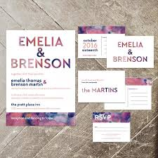 Wedding Invitations And Thank You Cards Modern Watercolor Wedding Invitation Set Blush And Navy