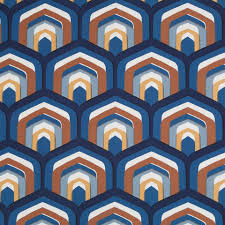 Peacock Curtains Navy Blue Copper Geometric Upholstery Fabric Contemporary Brown