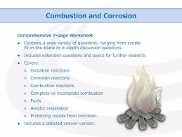 combustion and corrosion worksheet by goodscienceworksheets