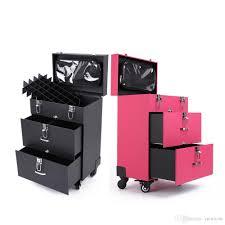 Box Makeup 3 stands make up box luggage carrier pu storage box with makeup bag