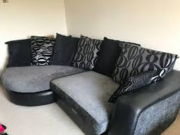 Curve Sofa by Dfs Mylo Leather Fabric Curve Sofa Black And Silver With