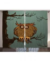 Owl Drapes Animal Shower Curtain Tired Owl In Oak Tree Print For Bathroom
