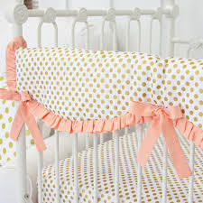 Gold Crib Bedding by Coral And Gold Dot Ruffle Baby Bedding Caden Lane