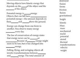 of energy transformation worksheet answers conservation of energy