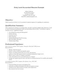 Accounting Resume Samples by Entry Level Accounting Resume Examples Resume Examples 2017