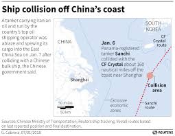 East China Sea Map Iranian Oil Tanker Burns 32 Missing After Collision Off China U0027s