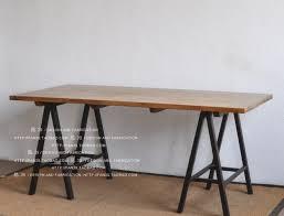 Drafting Table Desk Loft American Retro Nostalgia Wood Dining Table Shaped Metal Frame