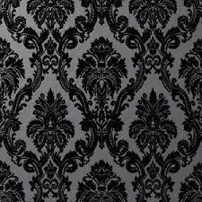exclusive casablanca velvet flock black grey damask wallpaper