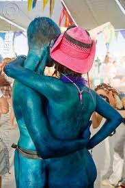 paint man burning man body painted couple a j