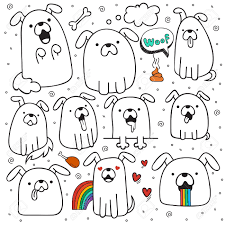 set of 10 dogs doodle handmade dogs with emotions painted dog