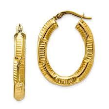 14k gold hoop earrings 14k yellow gold textured oval hoop earrings qg 199