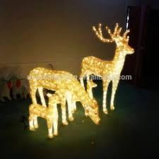 set of 2 lighted golden chagne reindeer deer outdoor