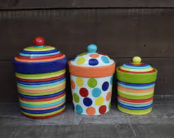 colorful kitchen canisters view canisters cookie jars by inaglaze on etsy
