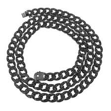 black link necklace images Mens bling iced out onyx black lab diamond miami cuban link 36 jpg