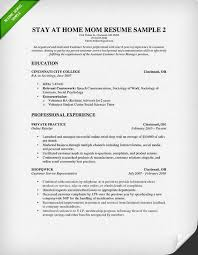 Resume Examples For College Students With Work Experience by How To Write A Stay At Home Mom Resume Resume Genius