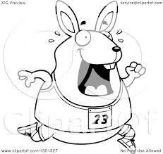 outline clipart of a cartoon black and white sweaty chubby rabbit