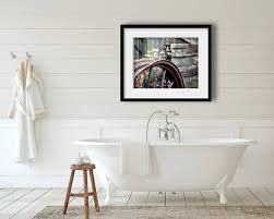 Rustic Farmhouse Bathroom - farmhouse bathroom decor old wheel photograph rustic home
