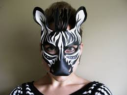 zebra leather mask child or sizes available