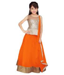 lancha dress buy orange color soft net designer kids lehenga choli online