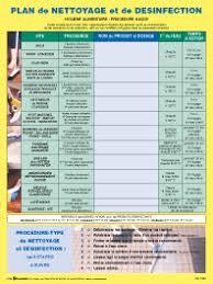 plan de nettoyage et de d駸infection cuisine tableau plan de nettoyage cuisine collective température idéale