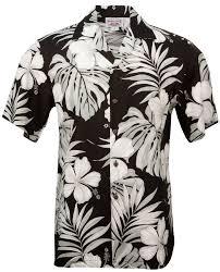 hibiscus mens hawaiian aloha shirt in black mens hawaiian