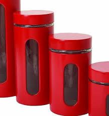 red canister set kitchen 4 piece glass storage jars lids coffee