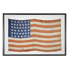Blue Flag With Stars 39 Star American Flag 19th C Americana Silk Parade Flag With