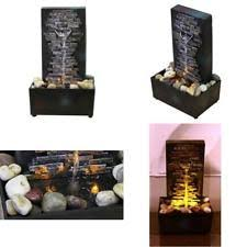 brick wall indoor water fountain tabletop waterfall relaxation