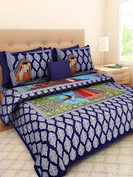 Buy Double Bed Sheets Online India Buy Pure Cotton Jaipuri Double Bed Sheet With 2 Pillow Cover By