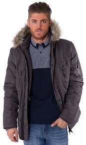 kangol mens casual parka coat fur hood winter zip up wind breaker