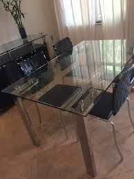 Black Leather Chairs And Dining Table Glass Chrome Dining Table And 4 Black Leather Chairs U2013 Estate