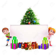 kids with christmas tree and sign stock photo picture and royalty