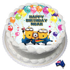 personalised birthday cakes minions edible cake image icing personalised birthday decoration