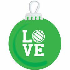 love volleyball holiday glass tree ornaments in 3 colors sport