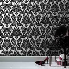 superfresco easy 52cm x 10m black and silver damask wallpaper i n