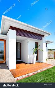 outdoor modern house green lawn front stock photo 391644433