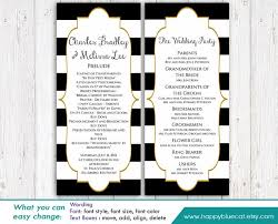 black and white wedding programs diy printable program wedding template instant